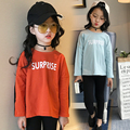 2017 spring and autumn hot fashion children's cotton T-shirt girls 4-11 years old solid color printed letters stitching pullover