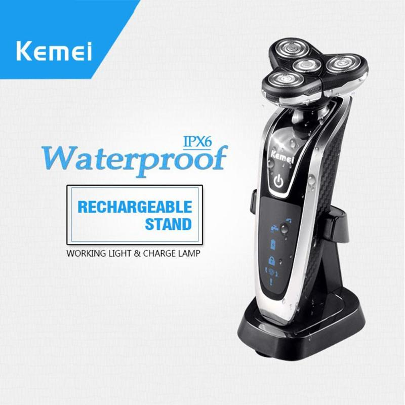 Kemei KM-8871 Electric Shaver 4D Floating Heads Washable Shaver for Men Beard Shaving Machine Rechargeable Razors Face Care