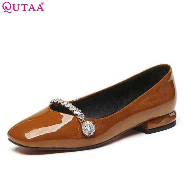 QUTAA 2018 Women Pumps Casual Patent Leather Shallow Women Shoes Slip on Square Heel Square Toe