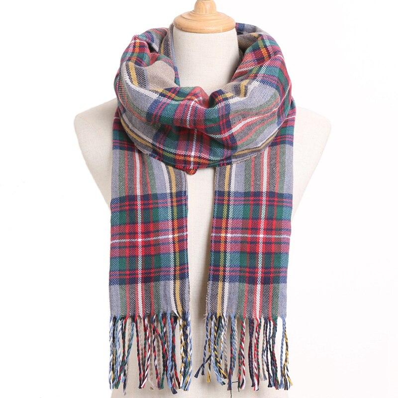 [VIANOSI] клетчатый зимний шарф женский тёплый платок одноцветные шарфы модные шарфы на каждый день кашемировые шарфы - Цвет: 25
