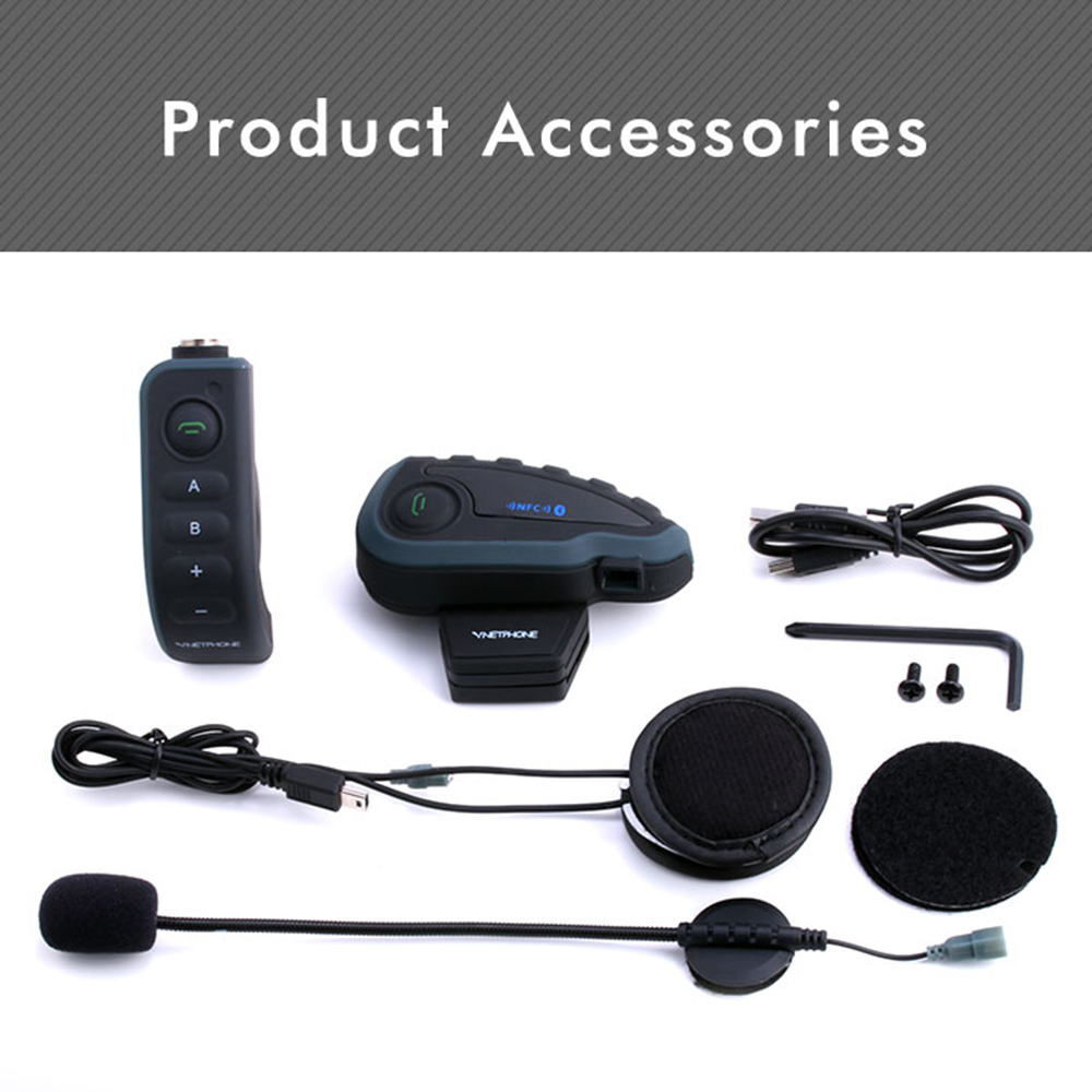 Vnetphone V8 BT Motorcycle Helmet Waterproof Interphone Headset for 5 riders Wireless intercomunicador Earphone Headphone MP3 2 pcs vnetphone v6 motorcycle helmet bluetooth headset intercom bt wireless interphone for 6 riders intercomunicador motocicleta