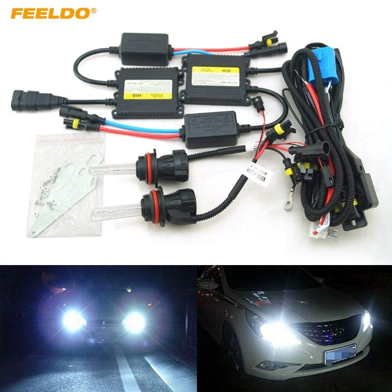 FEELDO 1set 35W AC Car Headlight 9004 9007 Xenon Bulb Hi/Lo Beam Bi-Xenon Bulb Light Digital Slim Ballast HID Kit #FD-4479