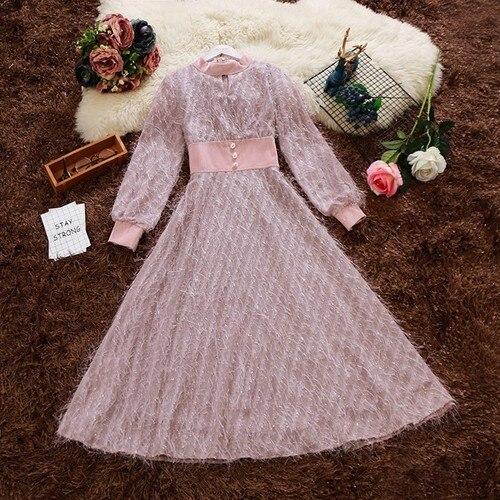 2019 spring new women O-neck lantern sleeve tassels chiffon stitching velvet long dress female elegant waist A-line dresses