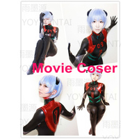 Movie Coser 100 Highly Restore High Quality Ray Evangelion Ayanami Rei Black Cosplay Suit Spandex Costume