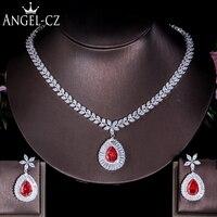 ANGELCZ Elegant Women CZ Costume Jewelry Big Tear Drop Red Stone Bridal Party Necklace Earrings Set For Wedding Evening AJ067