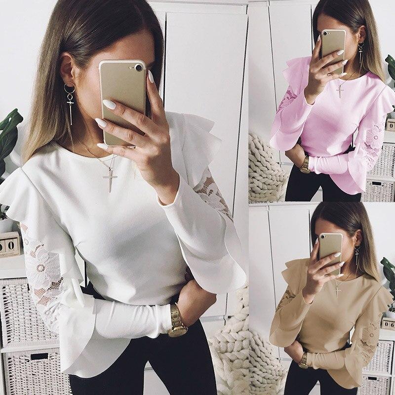Fashion Women Ruffle Lace T-Shirt Long Sleeve Hollow Patchwork O-neck Tops Elegant Slim Casual Shirts FS99