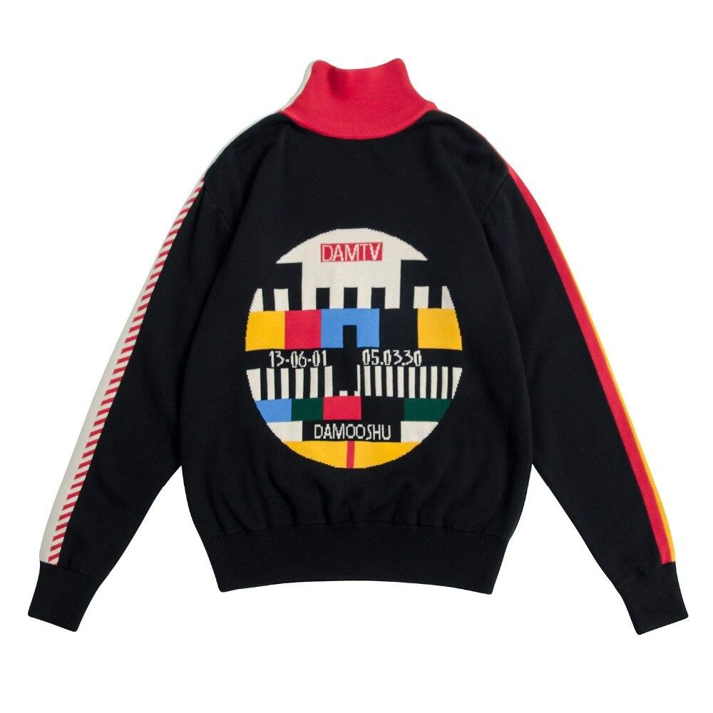 Piste automne femmes Vintage noir pull tricot en coton pull tricoté hauts géométrique épaissir chaud chandail hiver col roulé