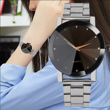 076fcd28fa19 Ocio minimalismo las mujeres relojes de acero inoxidable correa de banda  creativa reloj pulsera reloj de