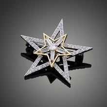 New Bridal jewelry Double Star Creative Model Rotary Design Cubic Zircon CZ Brooch For Woman Gift High Quality X00243