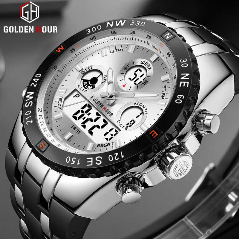 Reloj Hombre GOLDENHOUR модные мужские часы erkek kol saati Автоматические наручные часы с календарем водонепроницаемые мужские часы Relogio Masculino