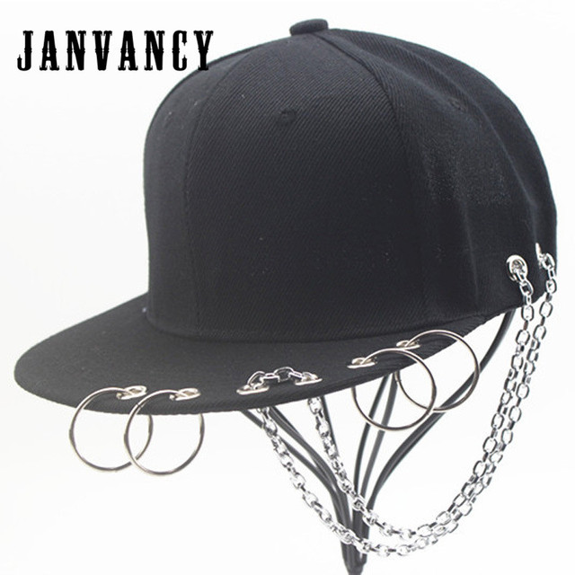Janvancy Steampunk Baseball Caps Men Women Snapbacks Male Black Non-mainstream  Punk Ring Buttons Flat Bone Hip Hop Hat 3e6f35e6095