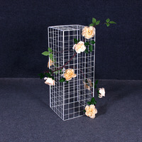 new grid road lead flower frame wrought iron geometric balloon road lead column party decorative flower stand wedding decor 30cm