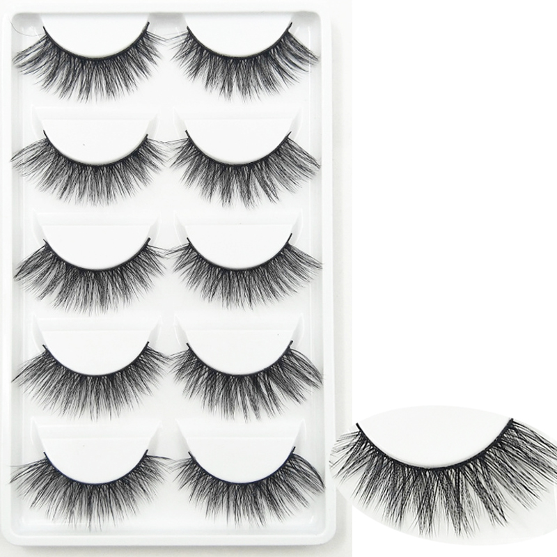 YOKPN Pure Hand Made Natural Fake Lashes Eye Tail Elongated Eye Lashes Makeup Tips Real 3D False Eyelashes Reusable Eyelash