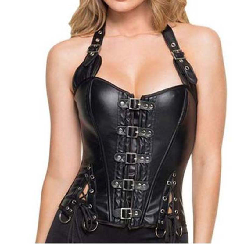 50f7426c33 Spiral Steel Boned Steampunk clothing PU Faux Leather Waist Trainer Corset  and Straps Vest Bustier womens ...