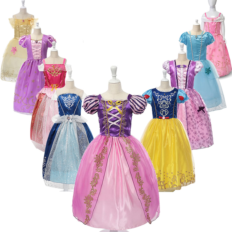 Girls Rapunzel Princess Dress Up Children Dresses Summer Snow White Cosplay Customes Sleeping Beauty Aurora Frocks For Kids in Dresses from Mother Kids