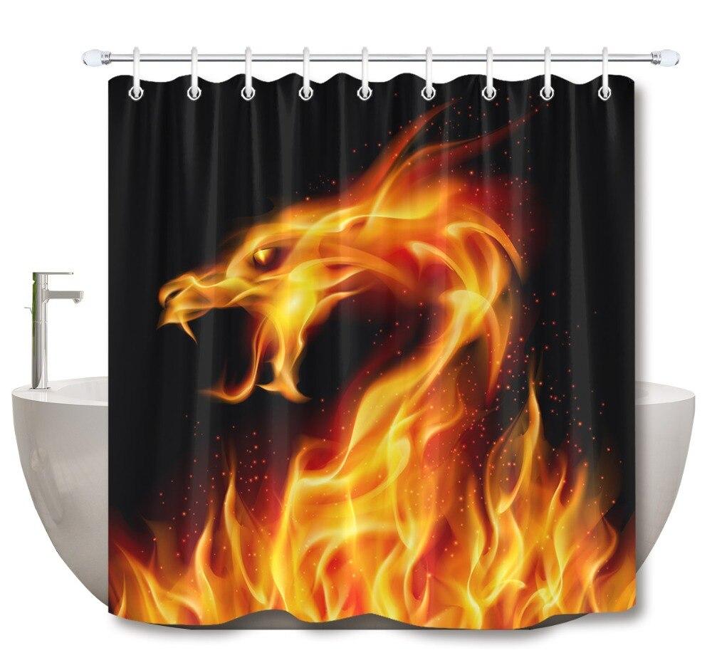 Waterproof Fabric Gold Alphabet Black Novelty Slang Bath Shower Curtain Hook
