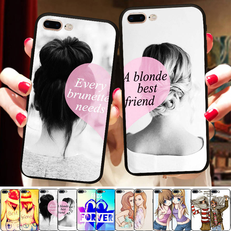 73acba876de56 Minason Girly Love Heart Best Friends Forever Case Cover For iPhone X 8 5S  XR XS Max 6 6S 7 Plus Soft Matching Couples BFF Cover
