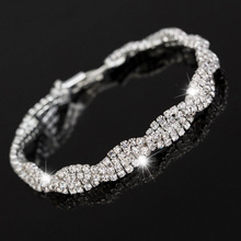 Luxury Created Diamond Crystal Tennis Cuff Bracelets Silver Plated Wave Kors Bracelet For Women Wedding Jewelry Pulseras Mujer