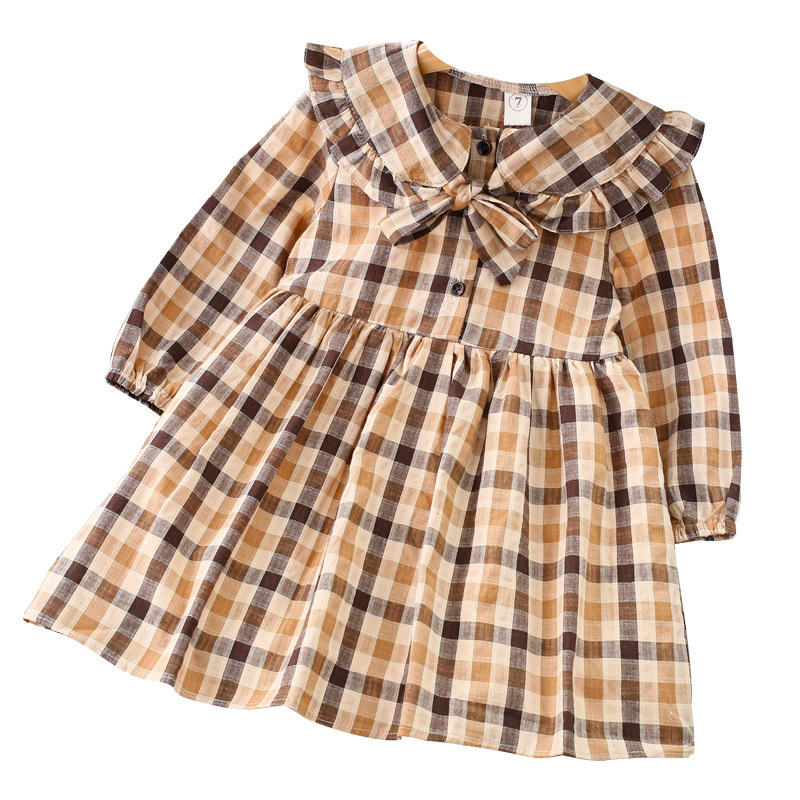 2018 Fall Vintage Preppy Style Baby Girls Dress Kids Peter Pan Collar Bowknot Plaid Frocks Toddler Child Cotton Princess Clothes