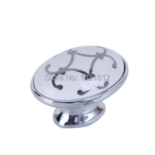 40mm Silver Flower Chrome Ceramic Cabinet Handle Knob Cabinet Cupboard Closet Drawer Handles Kitchen Ceramic Pulls H1429-40  76mm white chrome ceramic cabinet handle knob cabinet cupboard closet dresser drawer handles kitchen ceramic pulls