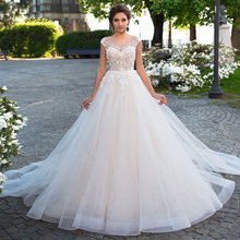 Loverxu Wedding Dresses 2019 Cap Sleeve Court Train