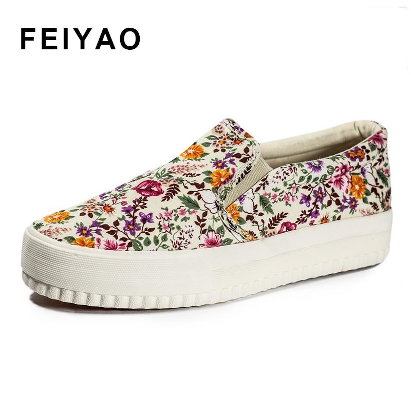 2017 zapatos de lona florales para las mujeres resbalón en valcanize calzado de
