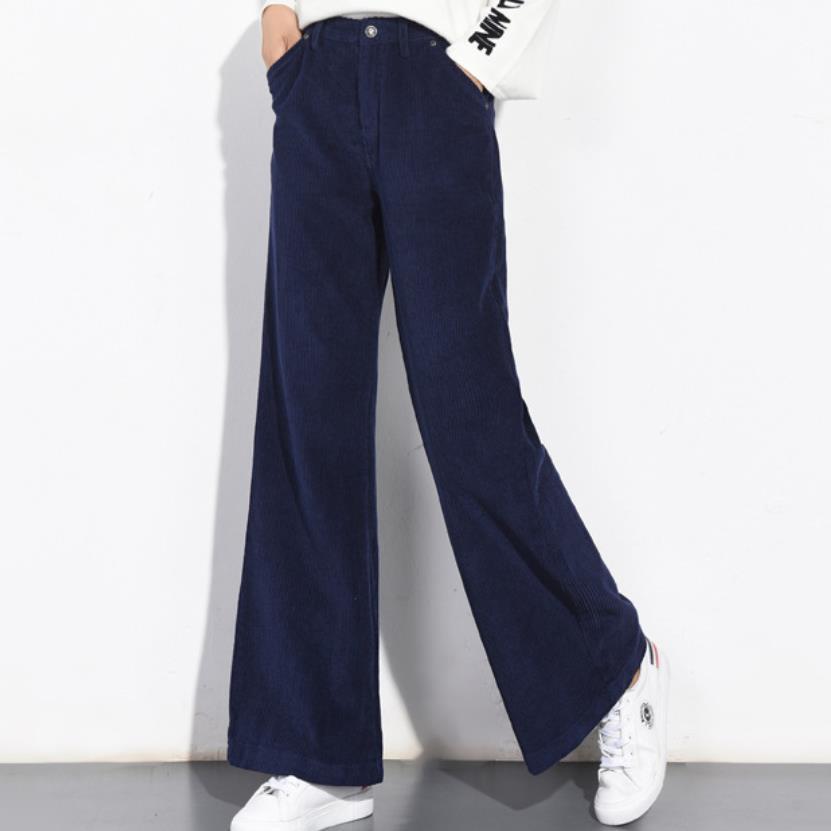 plus size 25-34!Autumn Winter Corduroy   Wide     Leg     Pants   Office Casual women   pants