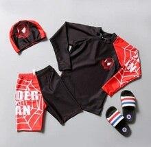 2019 Children Boys Long Sleeve Spiderman Swimsuit Set Sunscreen Shorts Korea 3pcs Cartoon Swimwear Sets Surf Wetsuit