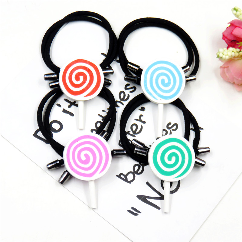 1PCS Swirl Lollipop Elastic Hair Bands For Girls Chinese Style Clip Headband Scrunchy Hairpin Kids Hair Accessories For Women