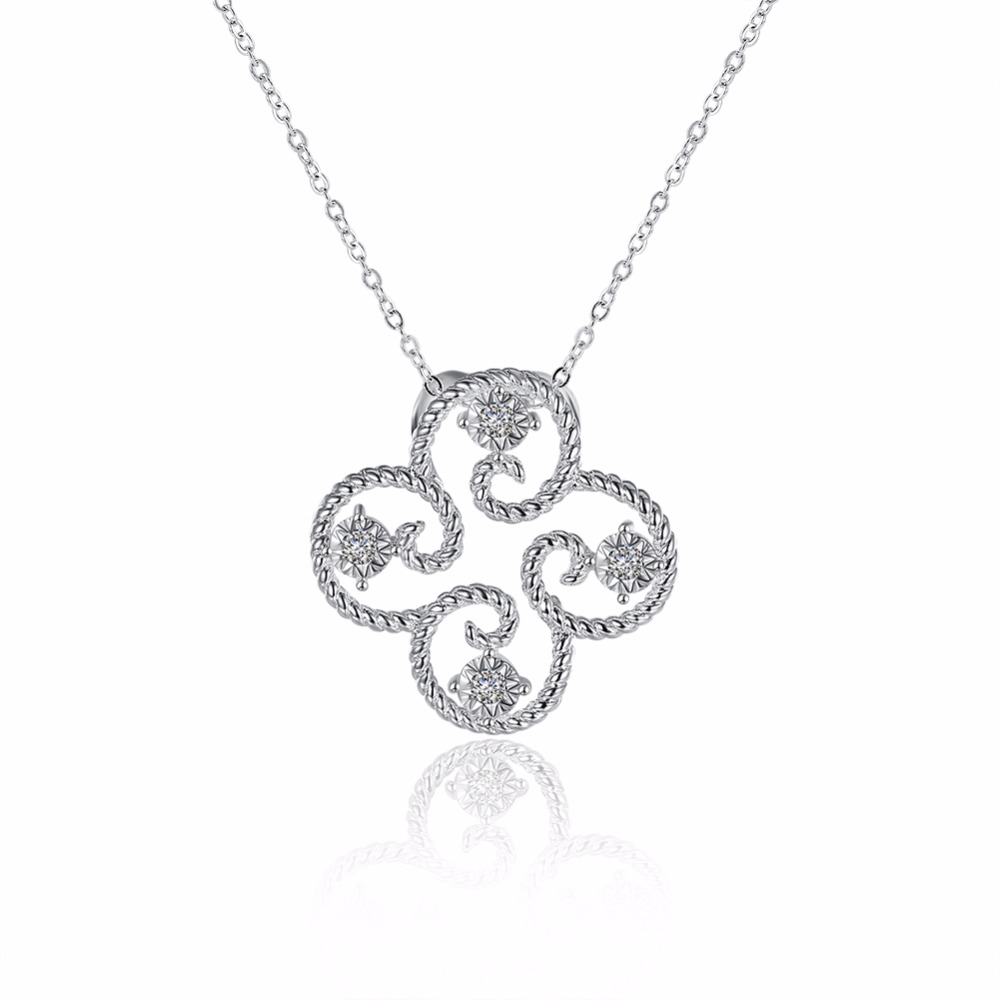 Hot new 925 sterling silver jewelry Fashion Clover Necklace Flower Zircon Pendant Necklace Pure Girl Accessories