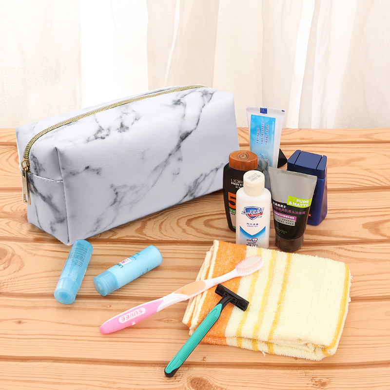 Aosbos Marble PU Leather Small Cosmetic Bags Women Fashion White Makeup Bag Zipper Pouch Travel Organizer Neceser Mujer