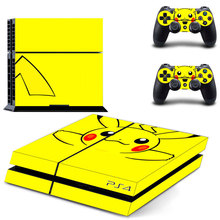 For Pokemon GO Pikachu PS4 Skin Sticker Decal Vinyl for Sony Playstation 4 Console and 2 Controllers PS4 Skin Sticker