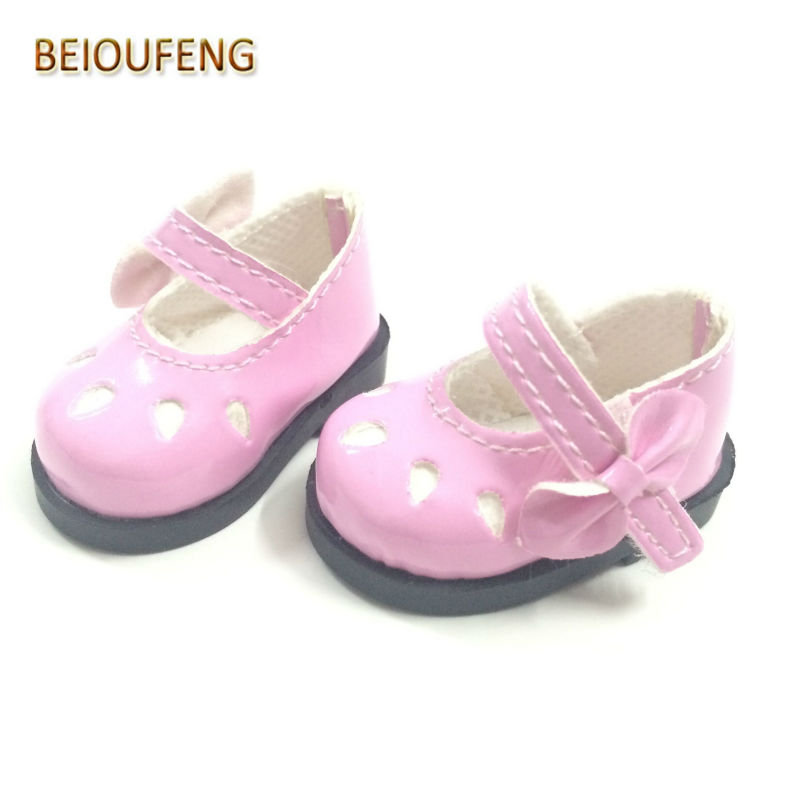 BEIOUFENG 5CM Mini PU Leather Doll Shoes for Russian Dolls,Beautiful Toy Boot with Bow Fashion Doll Shoes for Dolls 12 Pair/Lot
