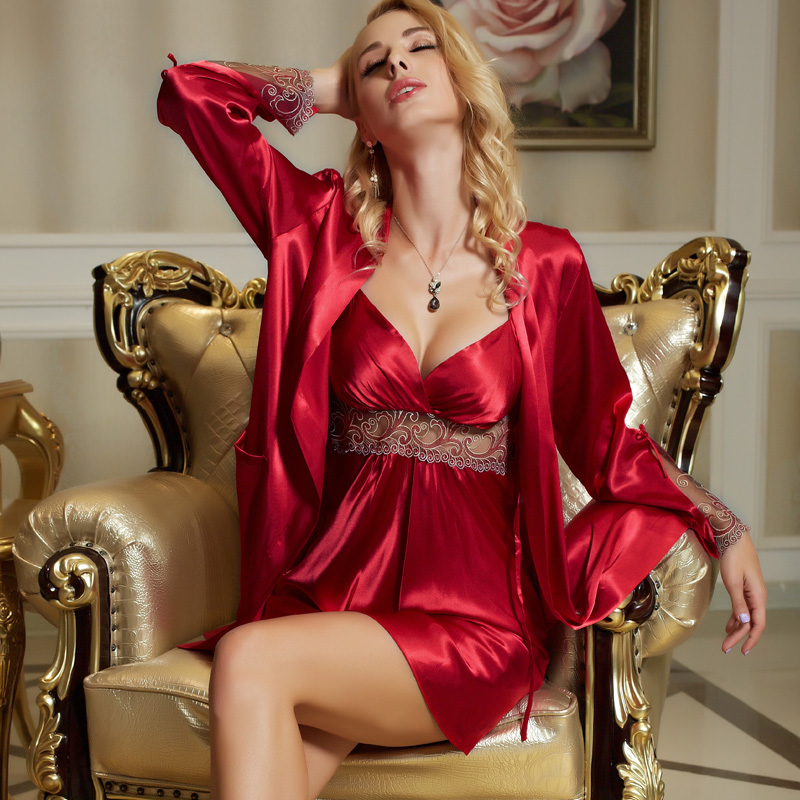 Image 5 - Xifenni Silk Robe Sets Female Silky Faux Silk Sleepwear Woman Sexy Lace Embroidery Bathrobes Nightdress Two Piece Sets X8207-in Robe & Gown Sets from Underwear & Sleepwears