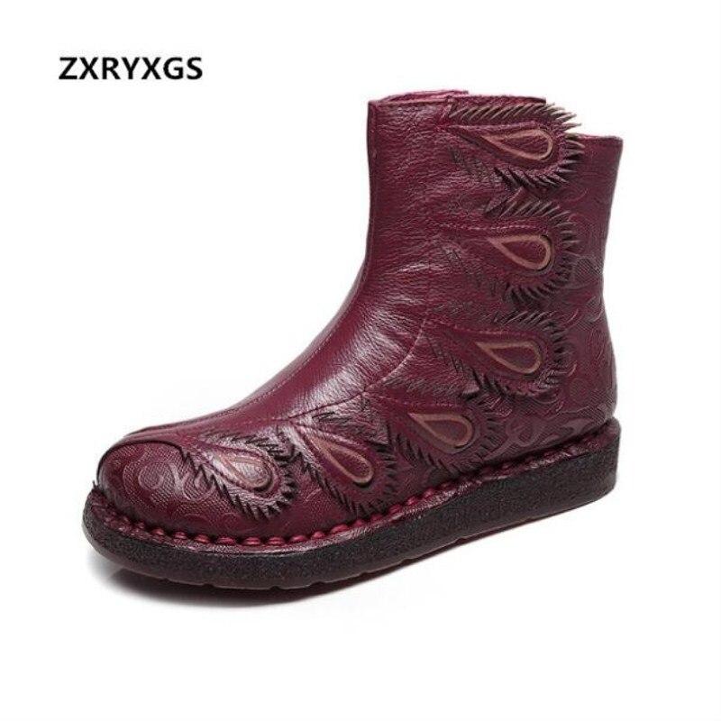 260c0b602 Otoño Mujeres Moda Completo Confort Las Zxryxgs Genuino Negro Marca rojo Cuero  Planas Zapatos 2018 Inferior De Casual Suave Botas Nueva aSg7WqgCP
