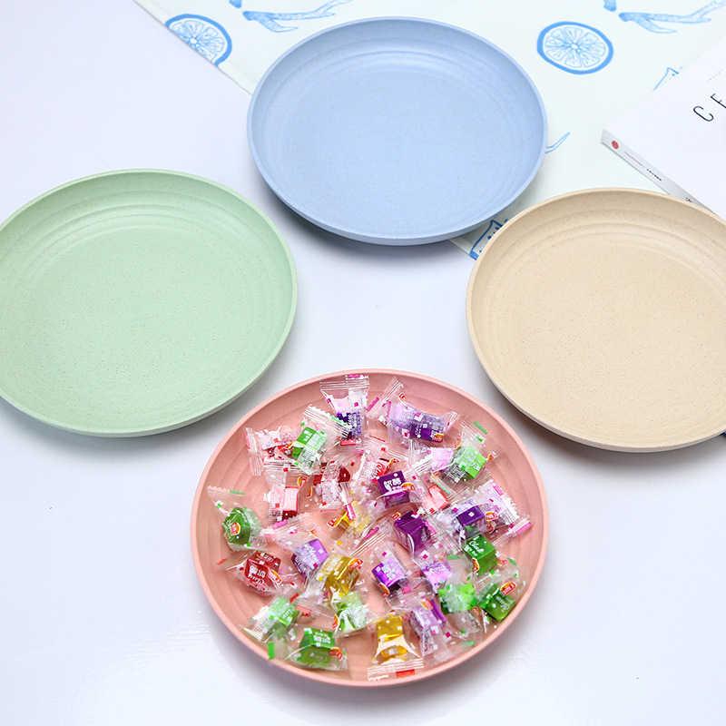 4 개/대 크리 에이 티브 순수 천연 밀 짚 디저트 접시 접시 다기능 플라스틱 식품 접시 디저트 주방 접시 트레이