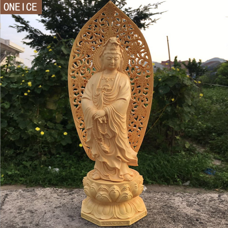 2019 creative solid wood Buddha statue sculpture Hand carved furniture home decoration accessories statue Buddha statue