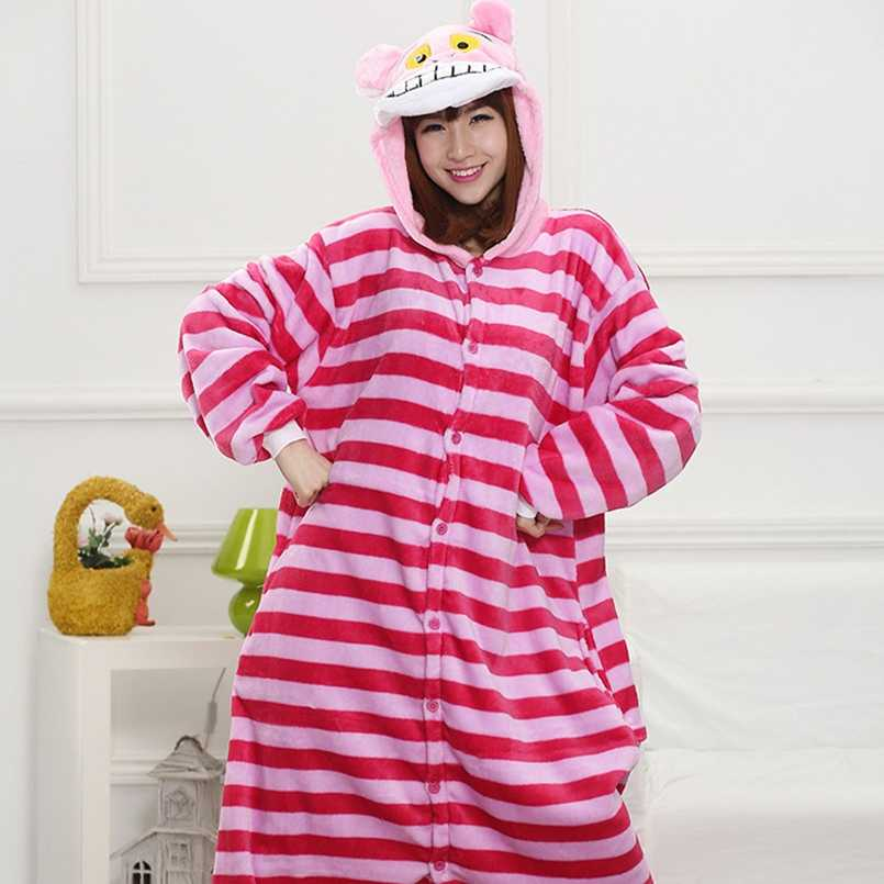 Cheshire cat Pajama Set Women Men Unisex Adult Animal Pijama Flannel Onesie  Cosplay Sleepwear Hoodie Halloween a8de6a9e8
