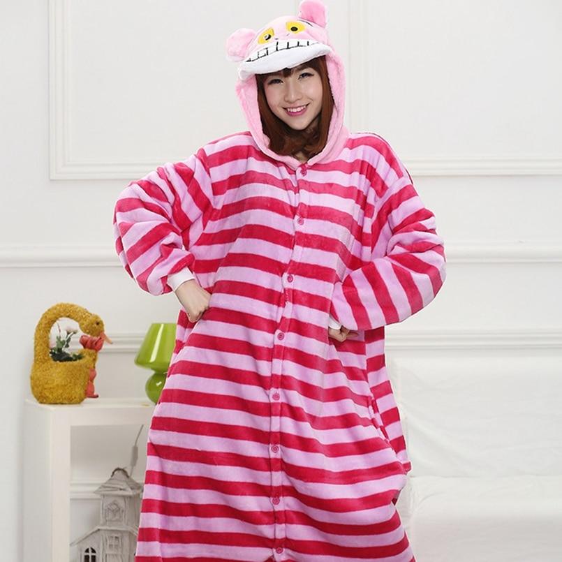 Cheshire cat   Pajama     Set   Women Men Unisex Adult Animal Pijama Flannel Onesie Cosplay Sleepwear Hoodie Halloween Holiday Costume