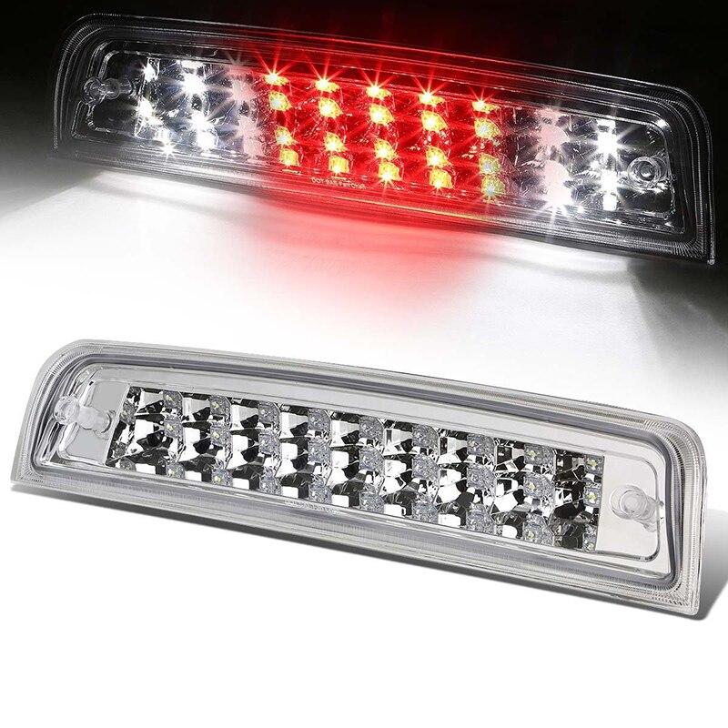 Transparent Third Brake Light Assembly Chrome High Mount Brake Stop Warning Lamp Set for Dodge Ram 1500 2500 3500