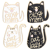 Animal brooches black Cat Metal Enamel Pins women Couple Badge Lapel Shirt Denim Accessories festival Gift