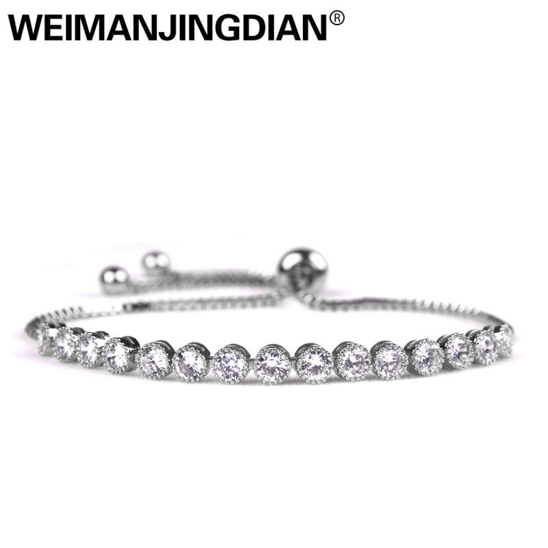 WEIMANJINGDIAN – bracelet classique rond en cristal de zircone cubique, réglable, Allure pour femmes, livraison DHL / UPS gratuite, commande 150 $ +