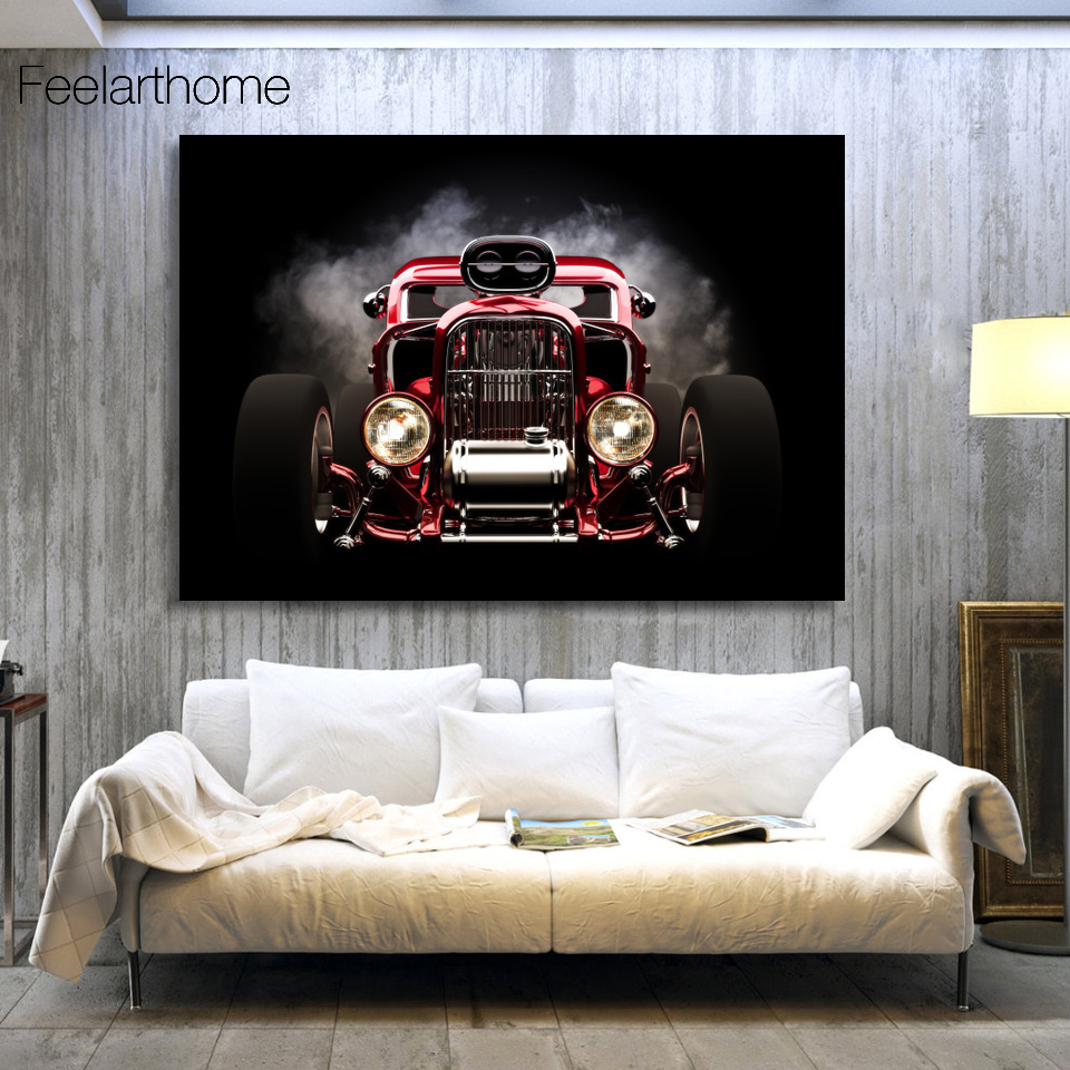 1 Panel Free Shipping Hot Rod Red Front View Wheels Print Painting On  Canvas Wall Art