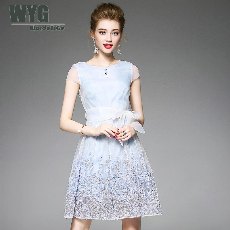 Women Tunic Summer Dresses With Belt 2017 Light Blu Transparent Short Cap Sleeve 3d Appl ...