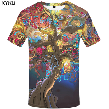 KYKU Space T Shirt Men Colorful Tshirt Tree Punk Rock Clothes Character 3d T-shirt Cool Mens Clothing 2018 Summer Fashion Tops kyku indians tshirt men white feather t shirt hip hop anime clothes character 3d print t shirt punk rock mens clothing summer