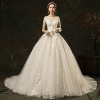 Erosebridal Simple Long Train Wedding Dress 2019 Short Sleeve Elegant Lace Bridal Gown with Tassel Shoulder Vestido De Noiva