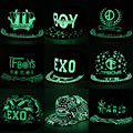 Luminous fluorescent letter print EXO bigbang G.dragon BOY WOLF Unkut minions superman caps adjustable glow in dark hip hop caps