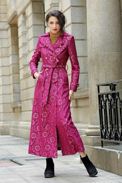 2016 S-3XL Старинные Кружева Длинный Плащ Для Женщин Двубортный Осень Макси Плюс Размер Пальто Высокого Quliaty Манто Femme
