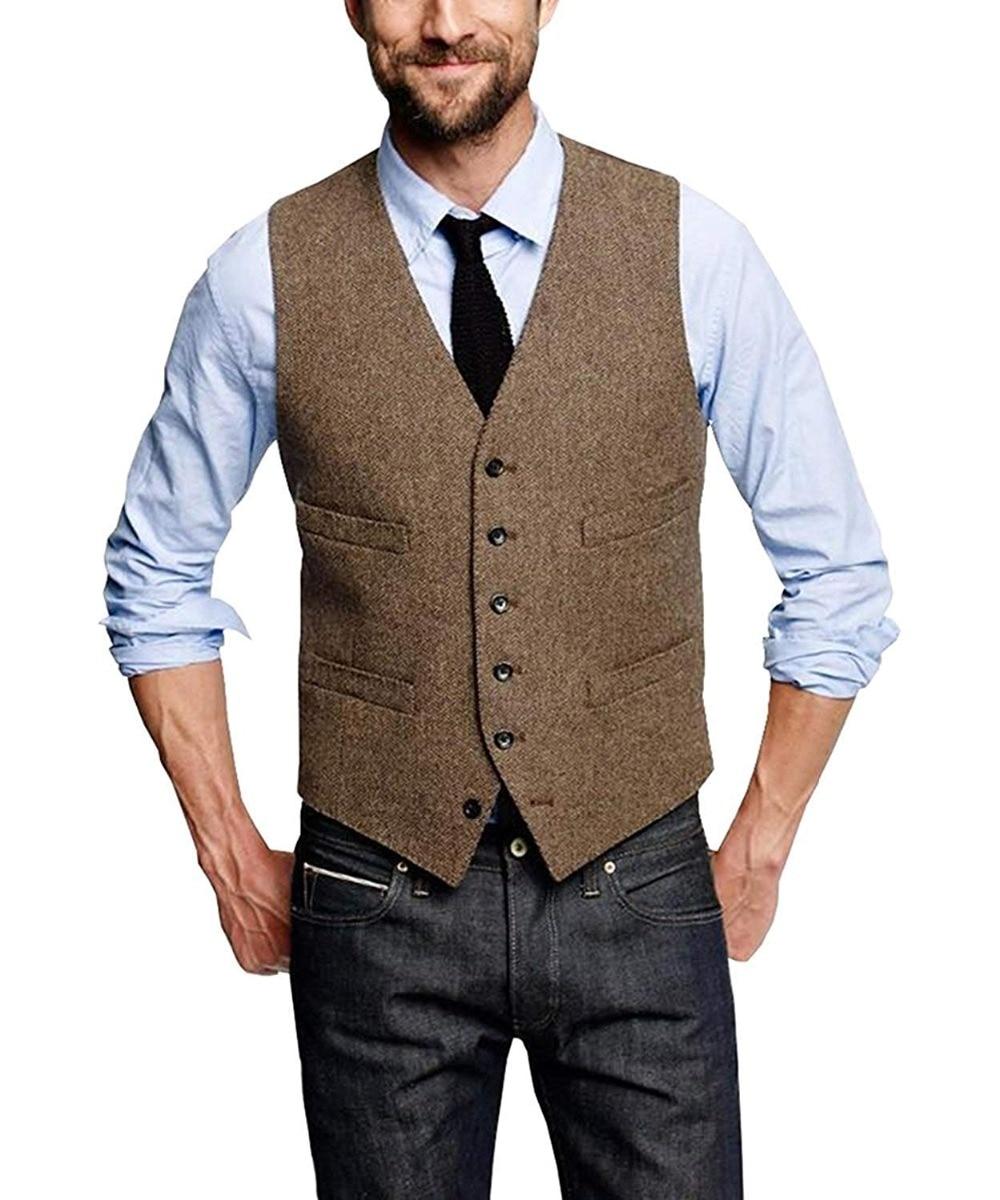 Mans Suit Vest Wool Herringbone Formal Groom's Wear Suit Vest Men's Wedding Tuxedo Waistcoat Plus Size Custom Size Waistcoat