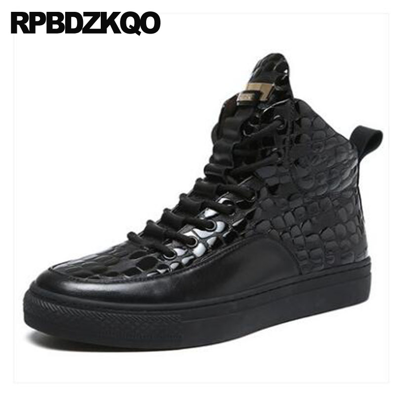 Mens Black Patent Leather Boots Real Shoes Winter High Top Crocodile Sneakers Ankle Trainer Full Grain Fur Zipper Runway Booties stud high top flat booties metalic sneakers rock ankle shoes winter men boots with fur brown rivet punk black zipper trainer